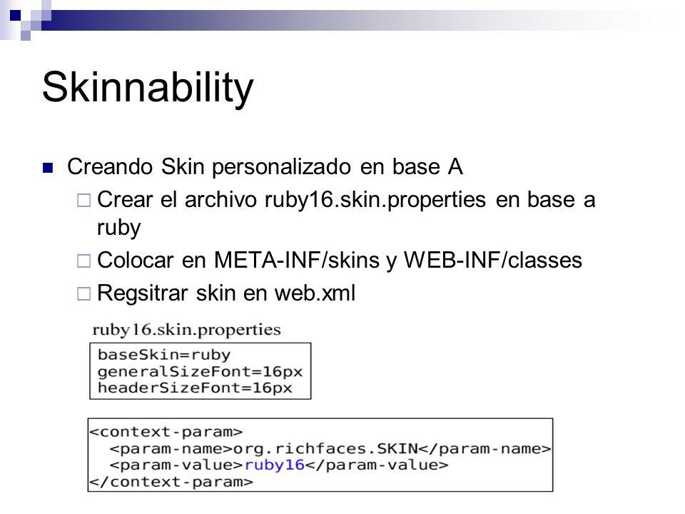 Skinnability Creando Skin personalizado en base A Crear el archivo ruby16.skin.properties en base a ruby Colocar en META-INF/skins y WEB-INF/classes Regsitrar skin en web.xml