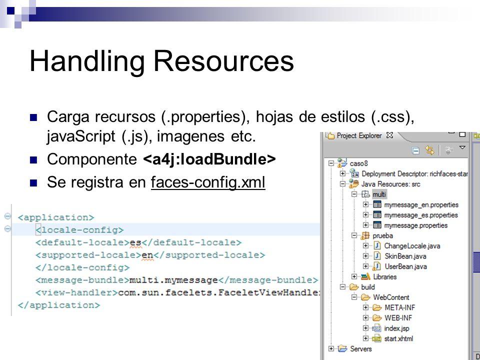 Handling Resources Carga recursos (.properties), hojas de estilos (.css), javaScript (.js), imagenes etc.
