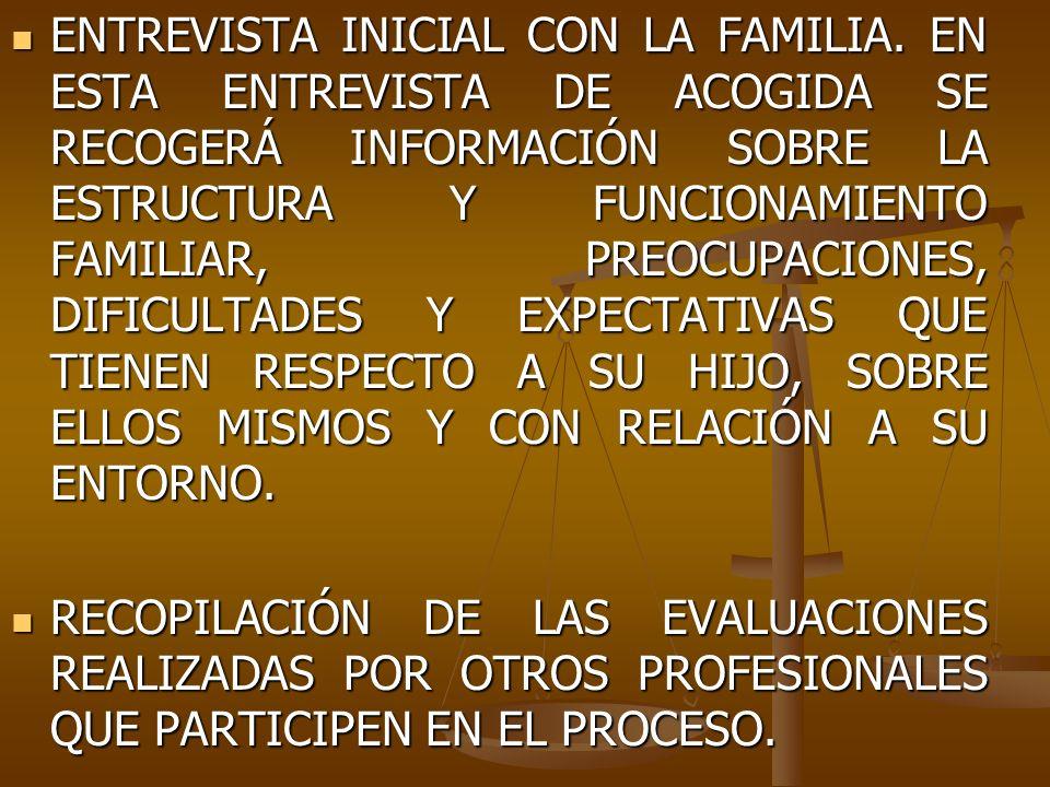 ENTREVISTA INICIAL CON LA FAMILIA. EN ESTA ENTREVISTA DE ACOGIDA SE RECOGERÁ INFORMACIÓN SOBRE LA ESTRUCTURA Y FUNCIONAMIENTO FAMILIAR, PREOCUPACIONES