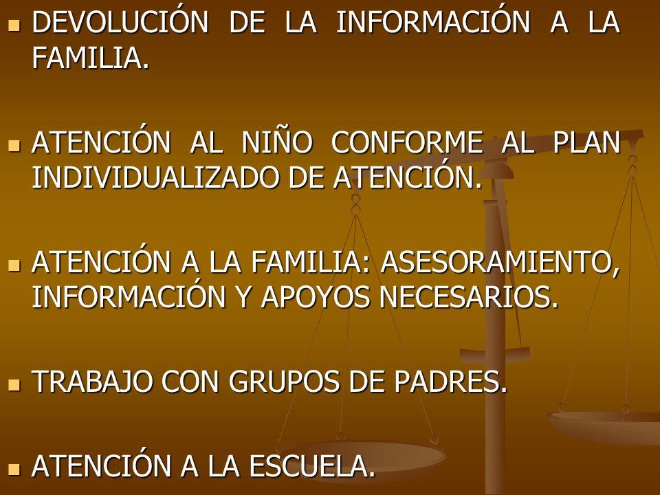 DEVOLUCIÓN DE LA INFORMACIÓN A LA FAMILIA. DEVOLUCIÓN DE LA INFORMACIÓN A LA FAMILIA. ATENCIÓN AL NIÑO CONFORME AL PLAN INDIVIDUALIZADO DE ATENCIÓN. A