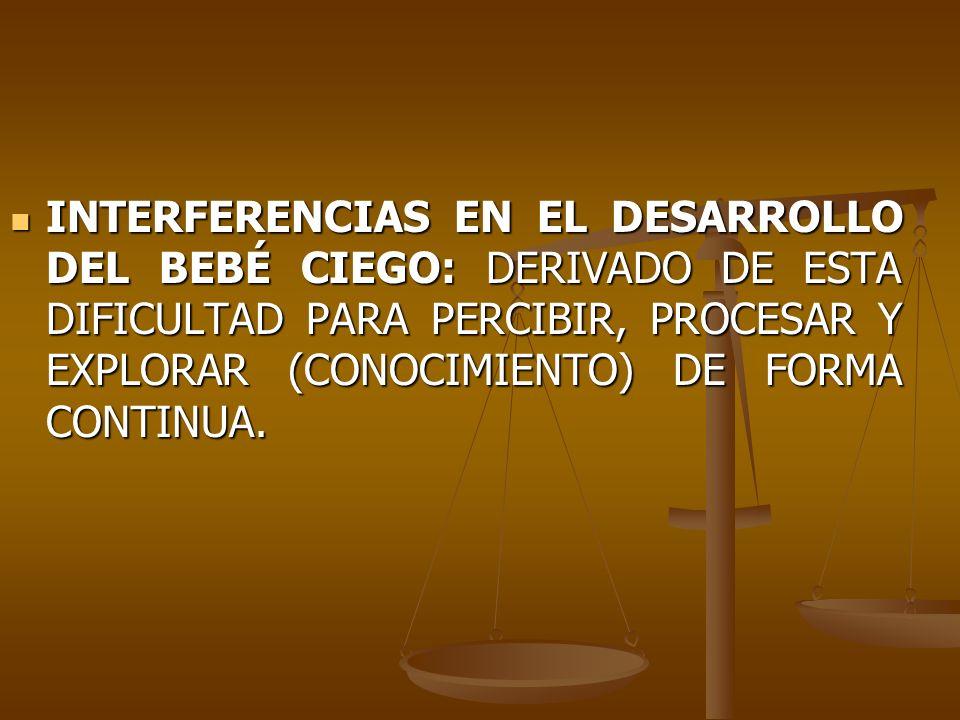 INTERFERENCIAS EN EL DESARROLLO DEL BEBÉ CIEGO: DERIVADO DE ESTA DIFICULTAD PARA PERCIBIR, PROCESAR Y EXPLORAR (CONOCIMIENTO) DE FORMA CONTINUA. INTER