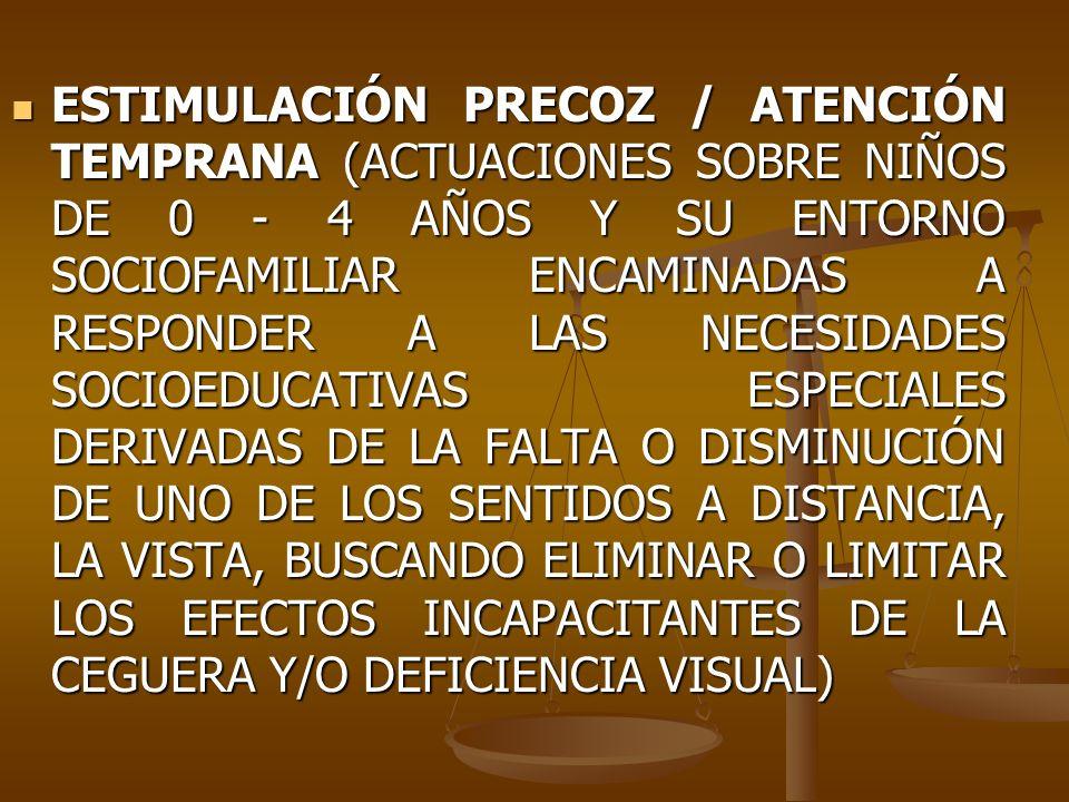 ESTIMULACIÓN PRECOZ / ATENCIÓN TEMPRANA (ACTUACIONES SOBRE NIÑOS DE 0 4 AÑOS Y SU ENTORNO SOCIOFAMILIAR ENCAMINADAS A RESPONDER A LAS NECESIDADES SOCI