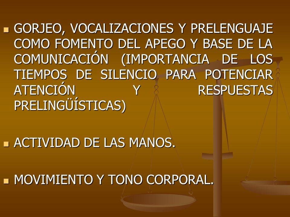 GORJEO, VOCALIZACIONES Y PRELENGUAJE COMO FOMENTO DEL APEGO Y BASE DE LA COMUNICACIÓN (IMPORTANCIA DE LOS TIEMPOS DE SILENCIO PARA POTENCIAR ATENCIÓN