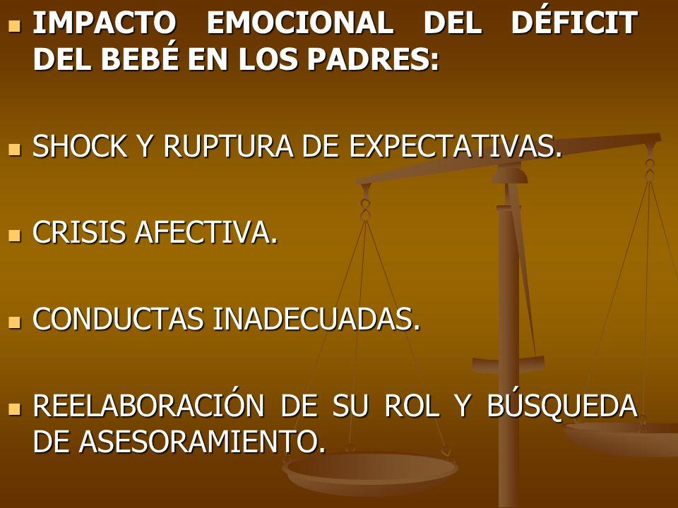 IMPACTO EMOCIONAL DEL DÉFICIT DEL BEBÉ EN LOS PADRES: IMPACTO EMOCIONAL DEL DÉFICIT DEL BEBÉ EN LOS PADRES: SHOCK Y RUPTURA DE EXPECTATIVAS. SHOCK Y R