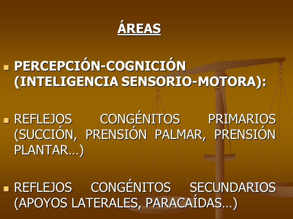 ÁREAS PERCEPCIÓN-COGNICIÓN (INTELIGENCIA SENSORIO-MOTORA): PERCEPCIÓN-COGNICIÓN (INTELIGENCIA SENSORIO-MOTORA): REFLEJOS CONGÉNITOS PRIMARIOS (SUCCIÓN