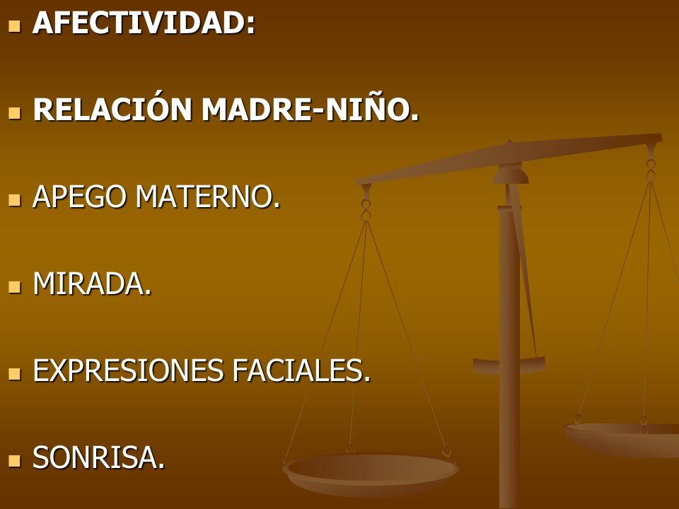 AFECTIVIDAD: AFECTIVIDAD: RELACIÓN MADRE-NIÑO. RELACIÓN MADRE-NIÑO. APEGO MATERNO. APEGO MATERNO. MIRADA. MIRADA. EXPRESIONES FACIALES. EXPRESIONES FA