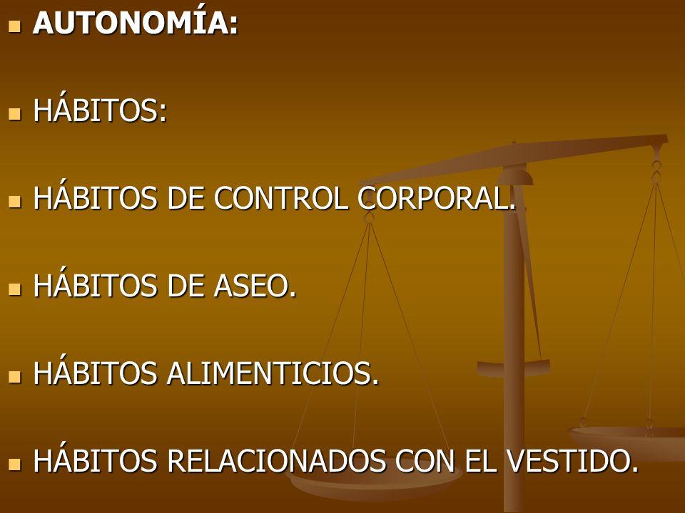 AUTONOMÍA: AUTONOMÍA: HÁBITOS: HÁBITOS: HÁBITOS DE CONTROL CORPORAL. HÁBITOS DE CONTROL CORPORAL. HÁBITOS DE ASEO. HÁBITOS DE ASEO. HÁBITOS ALIMENTICI