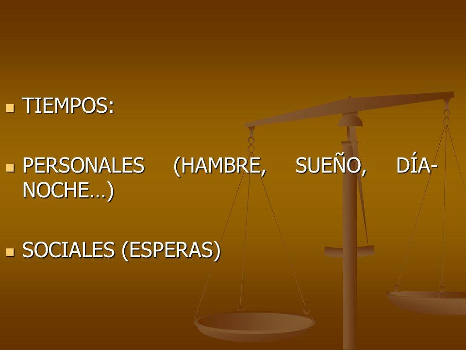 TIEMPOS: TIEMPOS: PERSONALES (HAMBRE, SUEÑO, DÍA- NOCHE…) PERSONALES (HAMBRE, SUEÑO, DÍA- NOCHE…) SOCIALES (ESPERAS) SOCIALES (ESPERAS)
