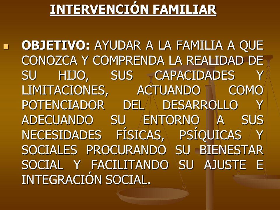 INTERVENCIÓN FAMILIAR OBJETIVO: AYUDAR A LA FAMILIA A QUE CONOZCA Y COMPRENDA LA REALIDAD DE SU HIJO, SUS CAPACIDADES Y LIMITACIONES, ACTUANDO COMO PO