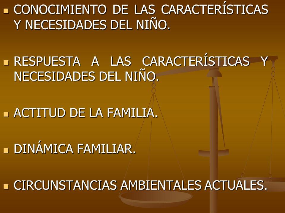 CONOCIMIENTO DE LAS CARACTERÍSTICAS Y NECESIDADES DEL NIÑO. CONOCIMIENTO DE LAS CARACTERÍSTICAS Y NECESIDADES DEL NIÑO. RESPUESTA A LAS CARACTERÍSTICA