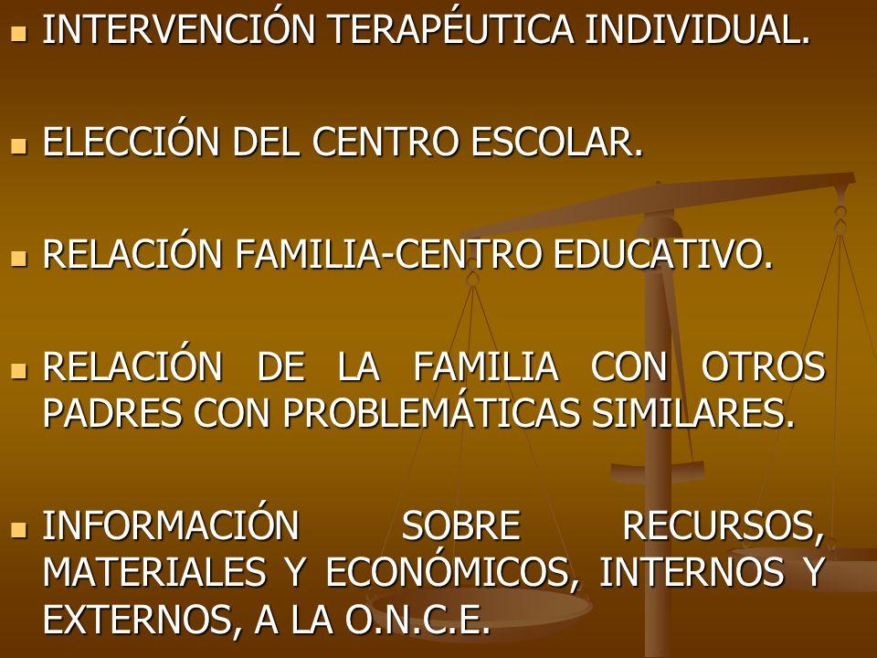 INTERVENCIÓN TERAPÉUTICA INDIVIDUAL. INTERVENCIÓN TERAPÉUTICA INDIVIDUAL. ELECCIÓN DEL CENTRO ESCOLAR. ELECCIÓN DEL CENTRO ESCOLAR. RELACIÓN FAMILIA-C