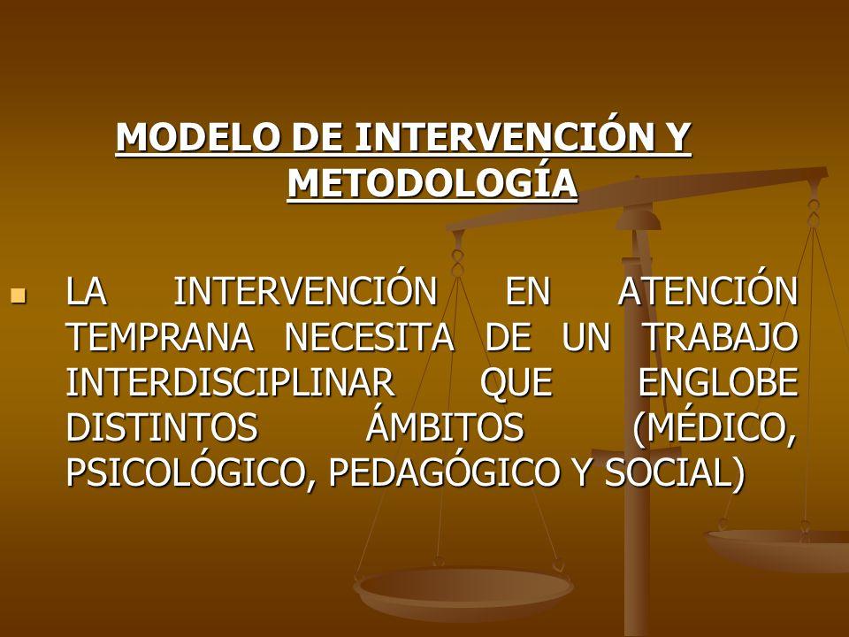 MODELO DE INTERVENCIÓN Y METODOLOGÍA LA INTERVENCIÓN EN ATENCIÓN TEMPRANA NECESITA DE UN TRABAJO INTERDISCIPLINAR QUE ENGLOBE DISTINTOS ÁMBITOS (MÉDIC