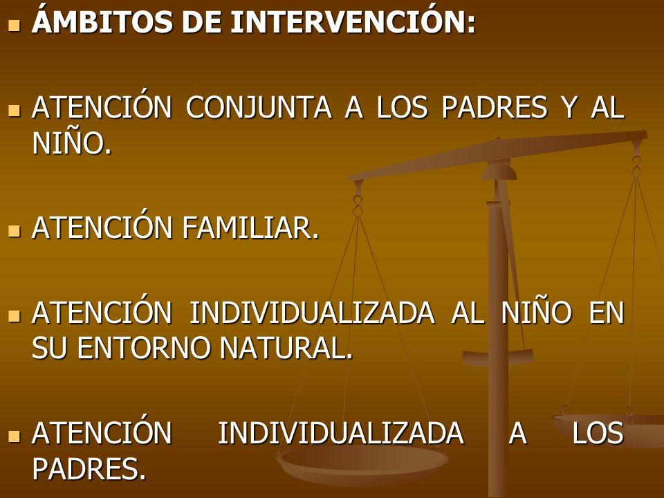 ÁMBITOS DE INTERVENCIÓN: ÁMBITOS DE INTERVENCIÓN: ATENCIÓN CONJUNTA A LOS PADRES Y AL NIÑO. ATENCIÓN CONJUNTA A LOS PADRES Y AL NIÑO. ATENCIÓN FAMILIA