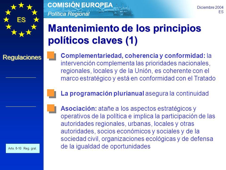 Política Regional COMISIÓN EUROPEA Diciembre 2004 ES Regulaciones Mantenimiento de los principios políticos claves (1) Complementariedad, coherencia y conformidad: la intervención complementa las prioridades nacionales, regionales, locales y de la Unión, es coherente con el marco estratégico y está en conformidad con el Tratado La programación plurianual asegura la continuidad Asociación: atañe a los aspectos estratégicos y operativos de la política e implica la participación de las autoridades regionales, urbanas, locales y otras autoridades, socios económicos y sociales y de la sociedad civil, organizaciones ecológicas y de defensa de la igualdad de oportunidades Arts.