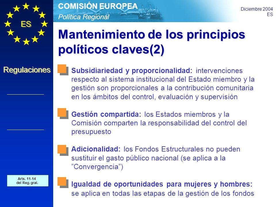Política Regional COMISIÓN EUROPEA Diciembre 2004 ES Regulaciones Mantenimiento de los principios políticos claves(2) Subsidiariedad y proporcionalidad: intervenciones respecto al sistema institucional del Estado miembro y la gestión son proporcionales a la contribución comunitaria en los ámbitos del control, evaluación y supervisión Gestión compartida: los Estados miembros y la Comisión comparten la responsabilidad del control del presupuesto Adicionalidad: los Fondos Estructurales no pueden sustituir el gasto público nacional (se aplica a la Convergencia) Igualdad de oportunidades para mujeres y hombres: se aplica en todas las etapas de la gestión de los fondos Art.