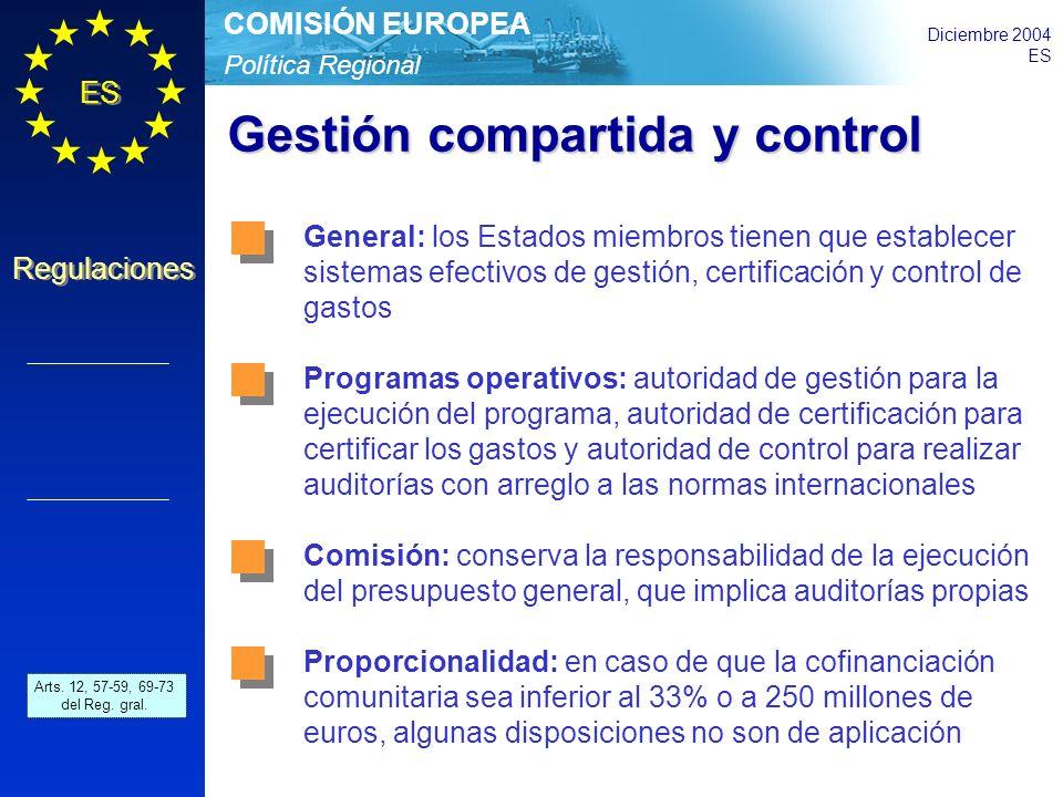 Política Regional COMISIÓN EUROPEA Diciembre 2004 ES Regulaciones Gestión compartida y control Art.