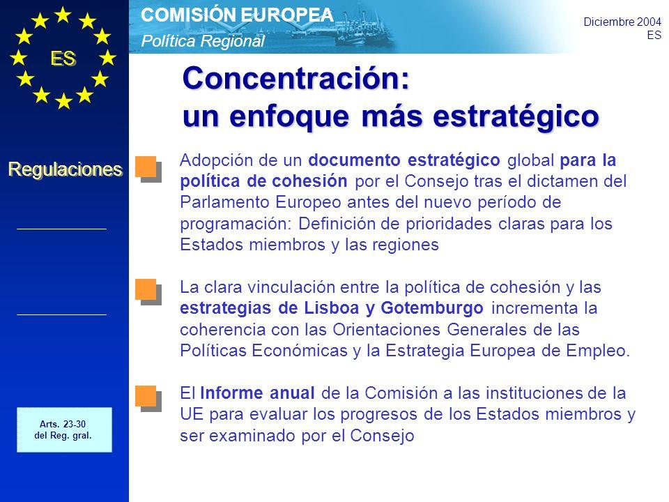 Política Regional COMISIÓN EUROPEA Diciembre 2004 ES Regulaciones Concentración: un enfoque más estratégico Adopción de un documento estratégico global para la política de cohesión por el Consejo tras el dictamen del Parlamento Europeo antes del nuevo período de programación: Definición de prioridades claras para los Estados miembros y las regiones La clara vinculación entre la política de cohesión y las estrategias de Lisboa y Gotemburgo incrementa la coherencia con las Orientaciones Generales de las Políticas Económicas y la Estrategia Europea de Empleo.
