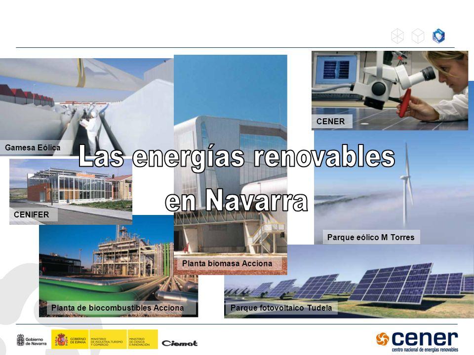 Planta de biocombustibles Acciona Parque eólico M Torres Parque fotovoltaico Tudela Gamesa Eólica Planta biomasa Acciona CENER CENIFER