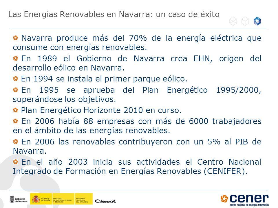 Las Energías Renovables en Navarra: un caso de éxito Navarra produce más del 70% de la energía eléctrica que consume con energías renovables. En 1989