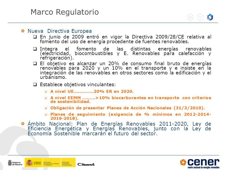 Nueva Directiva Europea En junio de 2009 entró en vigor la Directiva 2009/28/CE relativa al fomento del uso de energía procedente de fuentes renovable