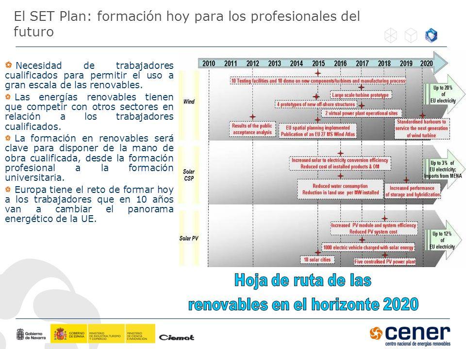 El SET Plan: formación hoy para los profesionales del futuro Necesidad de trabajadores cualificados para permitir el uso a gran escala de las renovabl