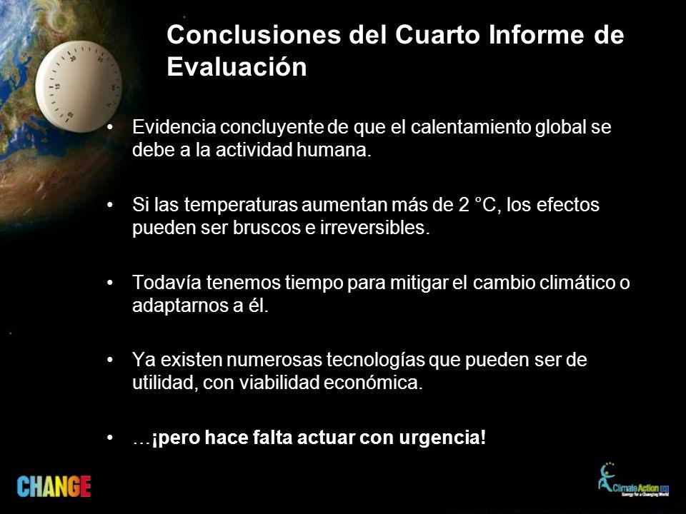 Conclusiones del Cuarto Informe de Evaluación Evidencia concluyente de que el calentamiento global se debe a la actividad humana.