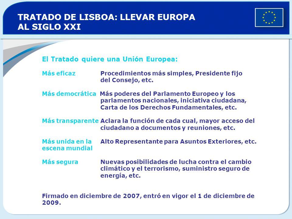 TRATADO DE LISBOA: LLEVAR EUROPA AL SIGLO XXI El Tratado quiere una Unión Europea: Más eficaz Procedimientos más simples, Presidente fijo del Consejo,