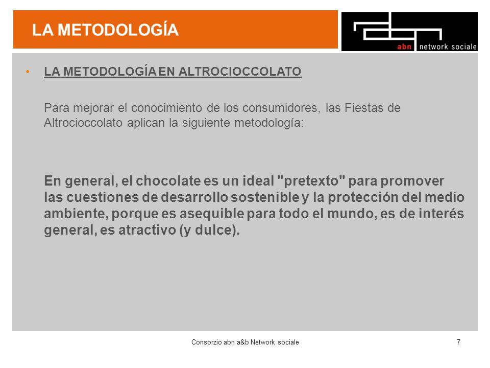 LA METODOLOGÍA LA METODOLOGÍA EN ALTROCIOCCOLATO Para mejorar el conocimiento de los consumidores, las Fiestas de Altrocioccolato aplican la siguiente metodología: En general, el chocolate es un ideal pretexto para promover las cuestiones de desarrollo sostenible y la protección del medio ambiente, porque es asequible para todo el mundo, es de interés general, es atractivo (y dulce).