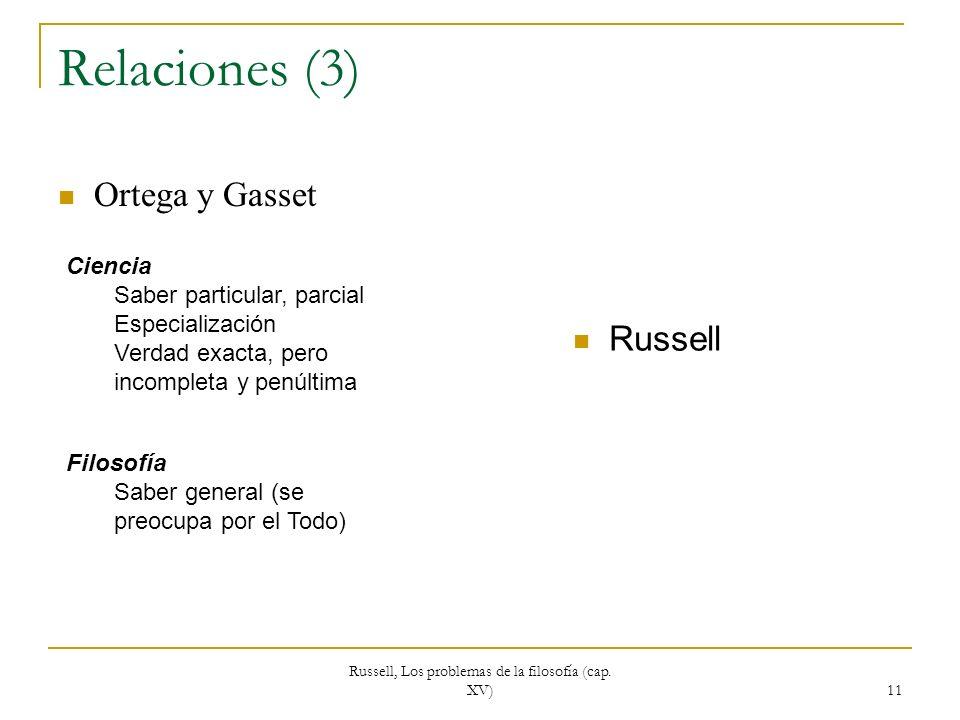 Russell, Los problemas de la filosofía (cap. XV) 11 Relaciones (3) Ortega y Gasset Russell Ciencia Saber particular, parcial Especialización Verdad ex