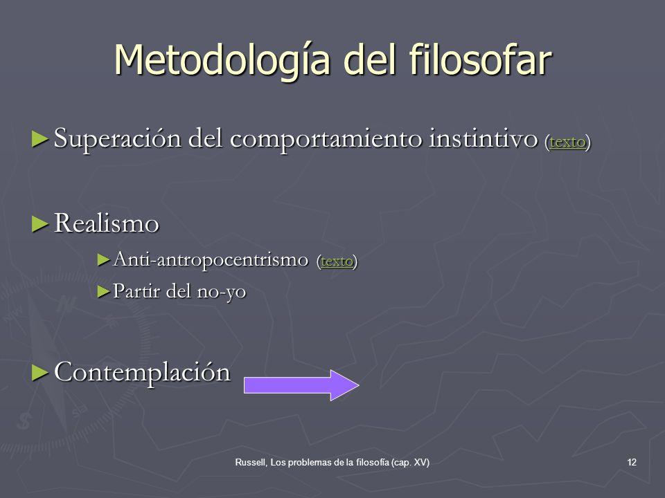 Russell, Los problemas de la filosofía (cap. XV)12 Metodología del filosofar Superación del comportamiento instintivo (texto) Superación del comportam