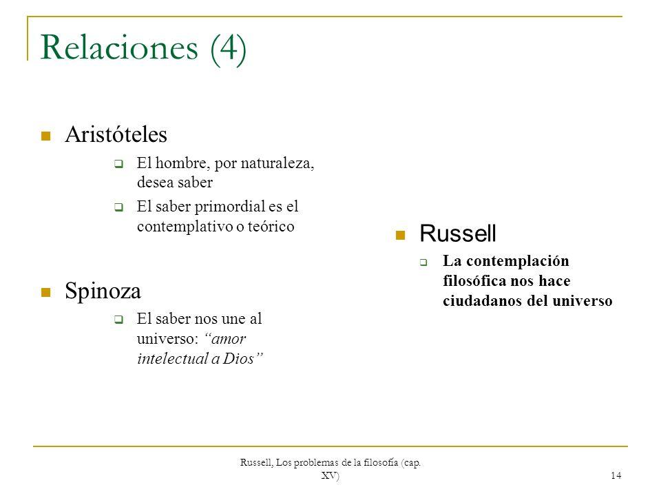 Russell, Los problemas de la filosofía (cap. XV) 14 Relaciones (4) Aristóteles El hombre, por naturaleza, desea saber El saber primordial es el contem