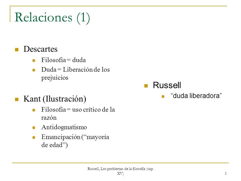 Russell, Los problemas de la filosofía (cap. XV) 5 Relaciones (1) Descartes Filosofía = duda Duda = Liberación de los prejuicios Kant (Ilustración) Fi