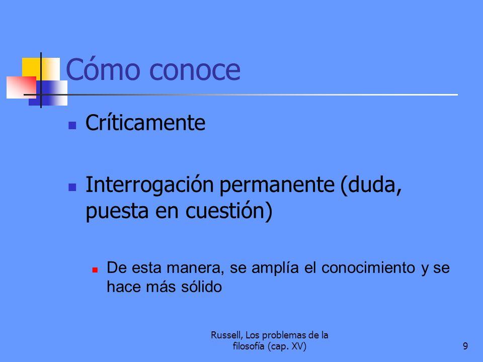 Russell, Los problemas de la filosofía (cap. XV)9 Cómo conoce Críticamente Interrogación permanente (duda, puesta en cuestión) De esta manera, se ampl