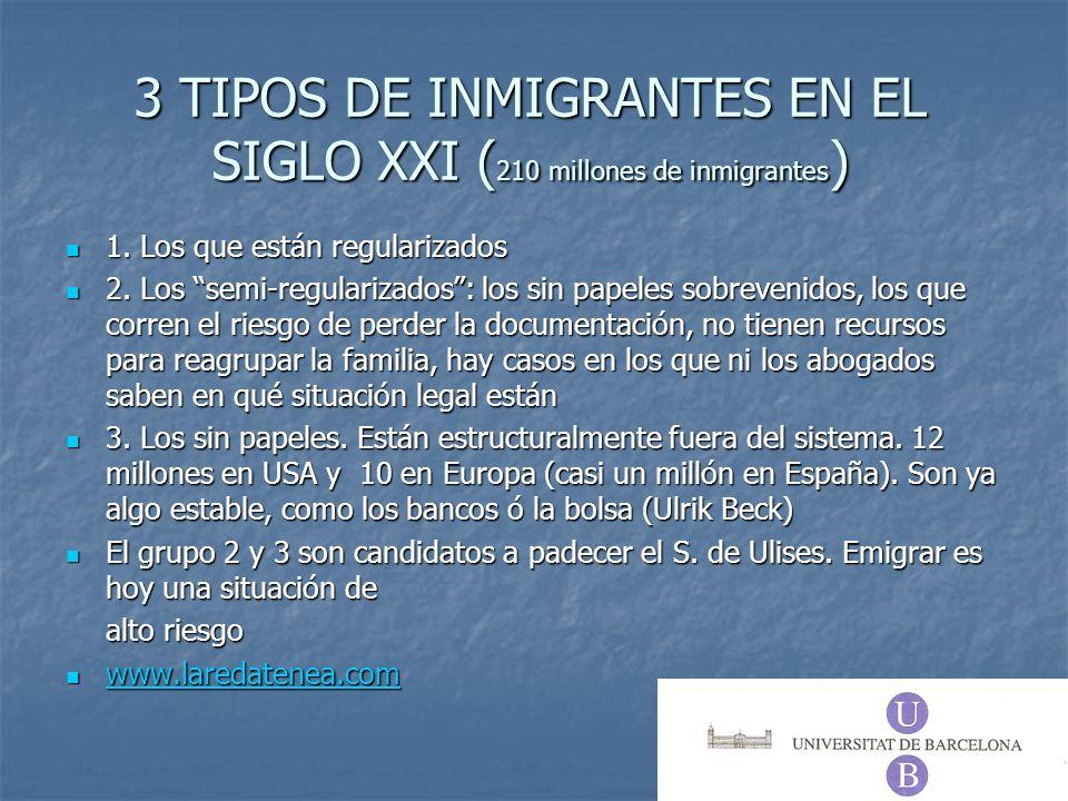 3 TIPOS DE INMIGRANTES EN EL SIGLO XXI ( 210 millones de inmigrantes ) 1. Los que están regularizados 1. Los que están regularizados 2. Los semi-regul
