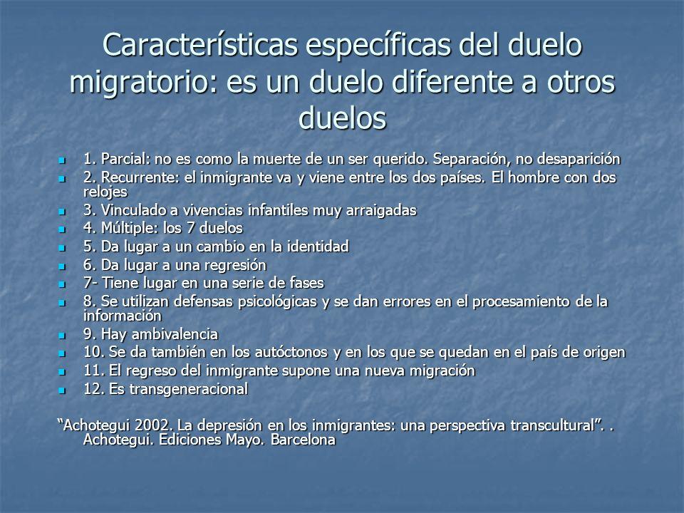Características específicas del duelo migratorio: es un duelo diferente a otros duelos 1. Parcial: no es como la muerte de un ser querido. Separación,