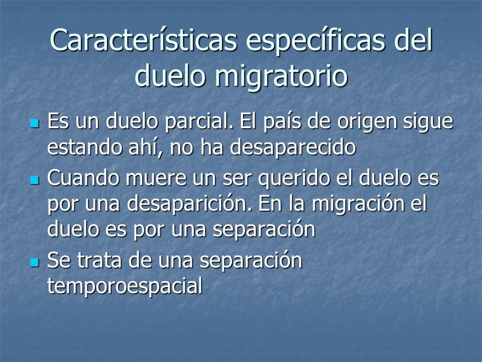 Características específicas del duelo migratorio Es un duelo parcial. El país de origen sigue estando ahí, no ha desaparecido Es un duelo parcial. El