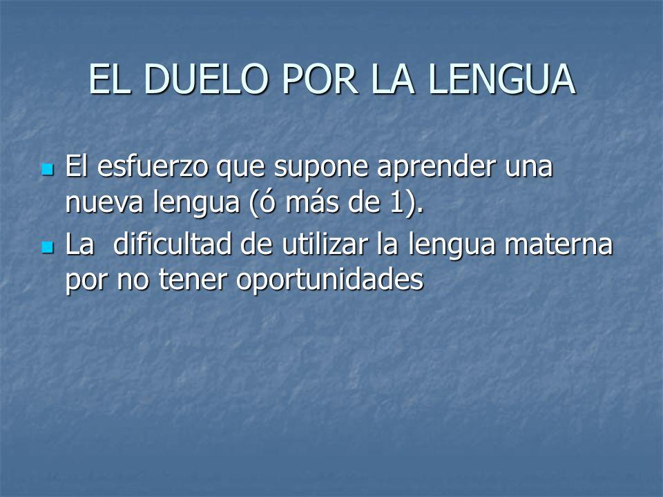 EL DUELO POR LA LENGUA El esfuerzo que supone aprender una nueva lengua (ó más de 1). El esfuerzo que supone aprender una nueva lengua (ó más de 1). L