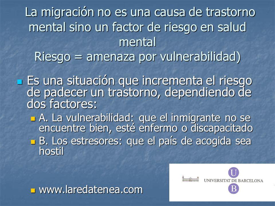 La migración no es una causa de trastorno mental sino un factor de riesgo en salud mental Riesgo = amenaza por vulnerabilidad) La migración no es una