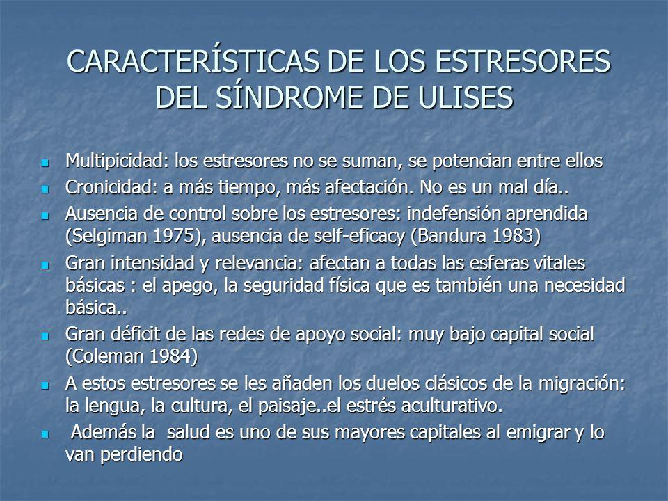 CARACTERÍSTICAS DE LOS ESTRESORES DEL SÍNDROME DE ULISES CARACTERÍSTICAS DE LOS ESTRESORES DEL SÍNDROME DE ULISES Multipicidad: los estresores no se s