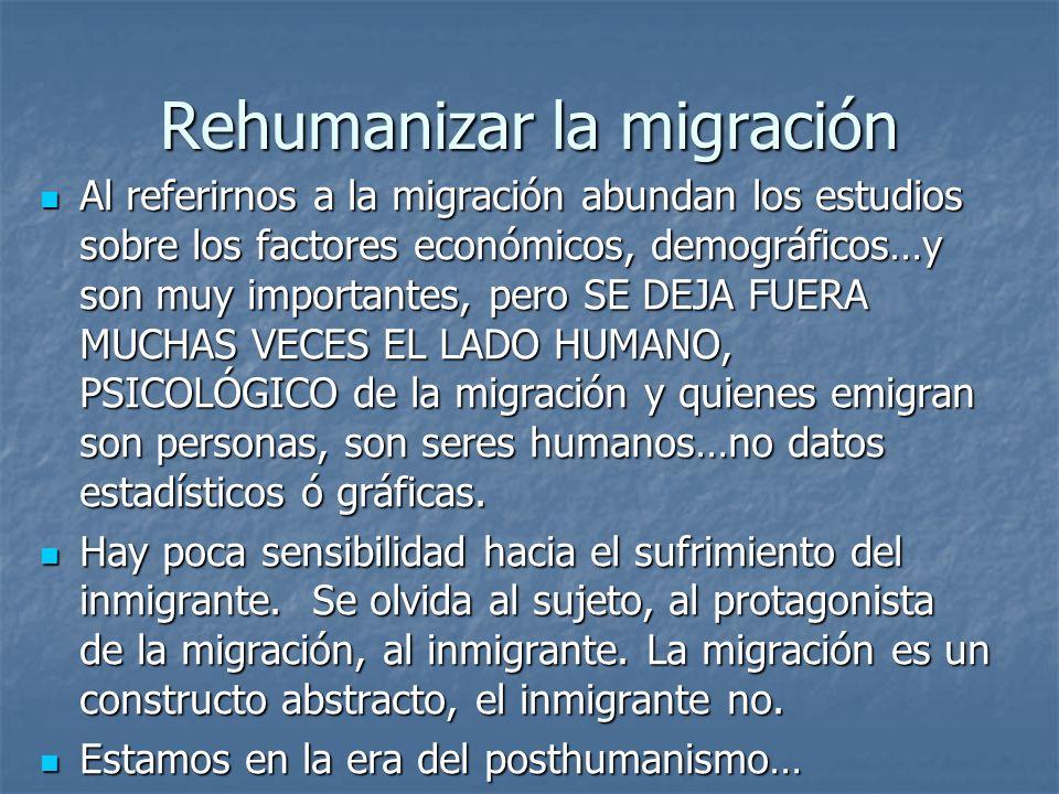 Rehumanizar la migración Al referirnos a la migración abundan los estudios sobre los factores económicos, demográficos…y son muy importantes, pero SE