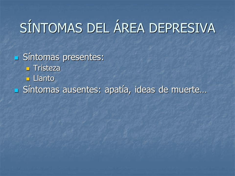 SÍNTOMAS DEL ÁREA DEPRESIVA Síntomas presentes: Tristeza Llanto Síntomas ausentes: apatía, ideas de muerte…
