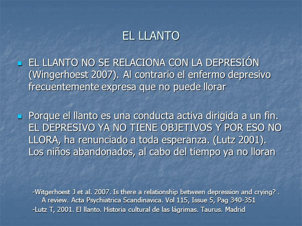 EL LLANTO EL LLANTO NO SE RELACIONA CON LA DEPRESIÓN (Wingerhoest 2007). Al contrario el enfermo depresivo frecuentemente expresa que no puede llorar
