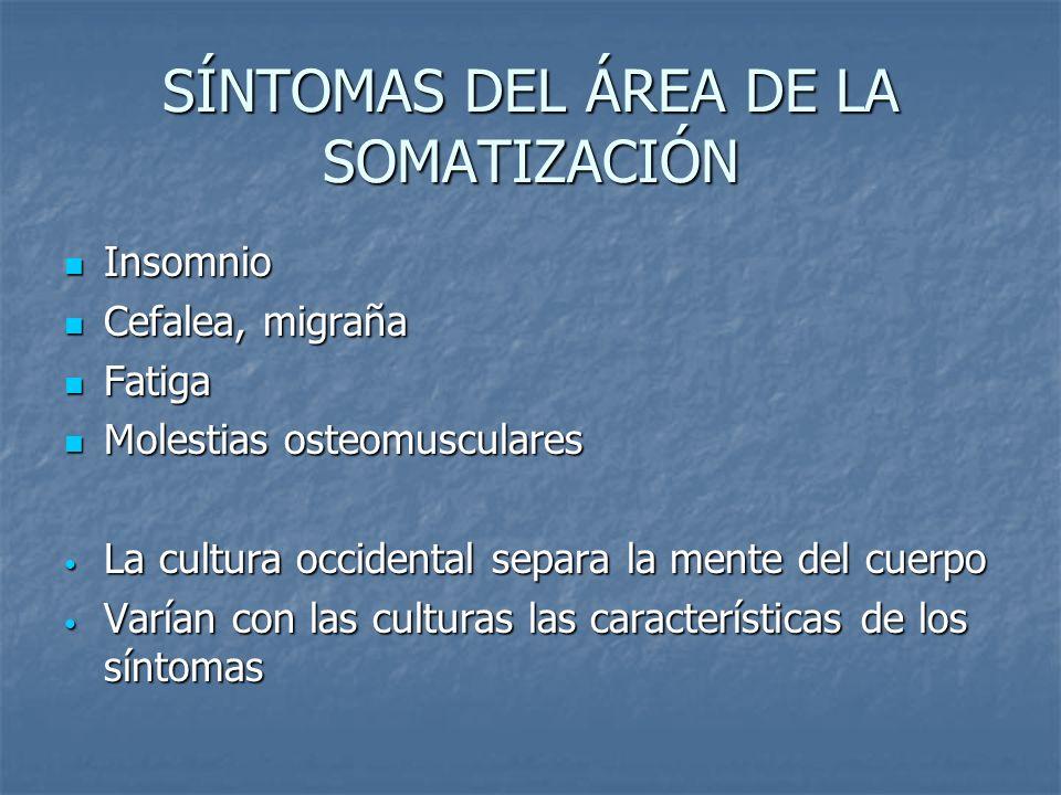 SÍNTOMAS DEL ÁREA DE LA SOMATIZACIÓN Insomnio Cefalea, migraña Fatiga Molestias osteomusculares La cultura occidental separa la mente del cuerpo Varía