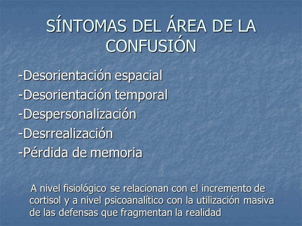 SÍNTOMAS DEL ÁREA DE LA CONFUSIÓN -Desorientación espacial -Desorientación temporal -Despersonalización -Desrrealización -Pérdida de memoria A nivel f