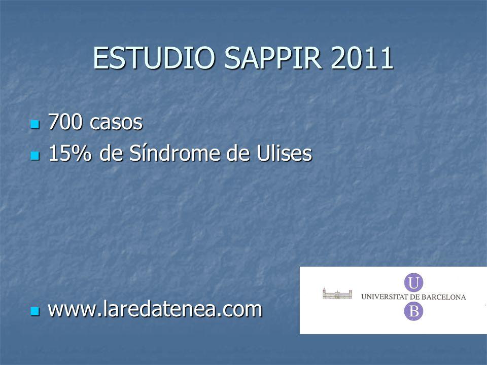 ESTUDIO SAPPIR 2011 700 casos 700 casos 15% de Síndrome de Ulises 15% de Síndrome de Ulises www.laredatenea.com www.laredatenea.com