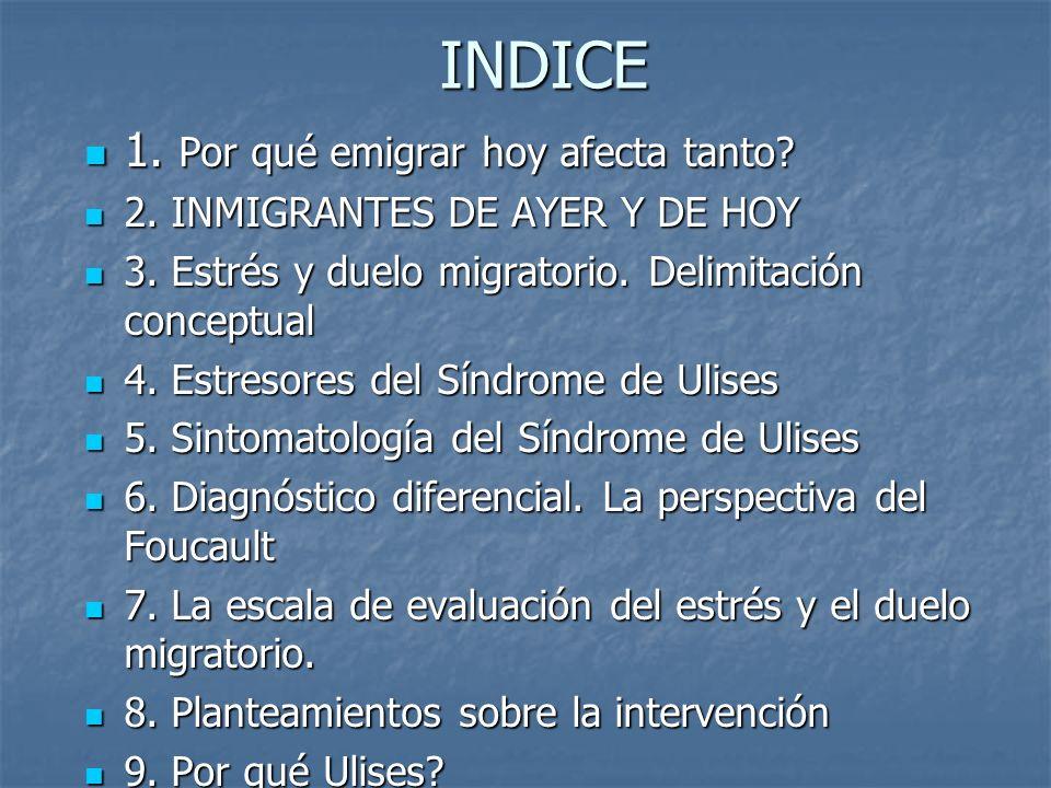 INDICE 1. Por qué emigrar hoy afecta tanto? 1. Por qué emigrar hoy afecta tanto? 2. INMIGRANTES DE AYER Y DE HOY 2. INMIGRANTES DE AYER Y DE HOY 3. Es