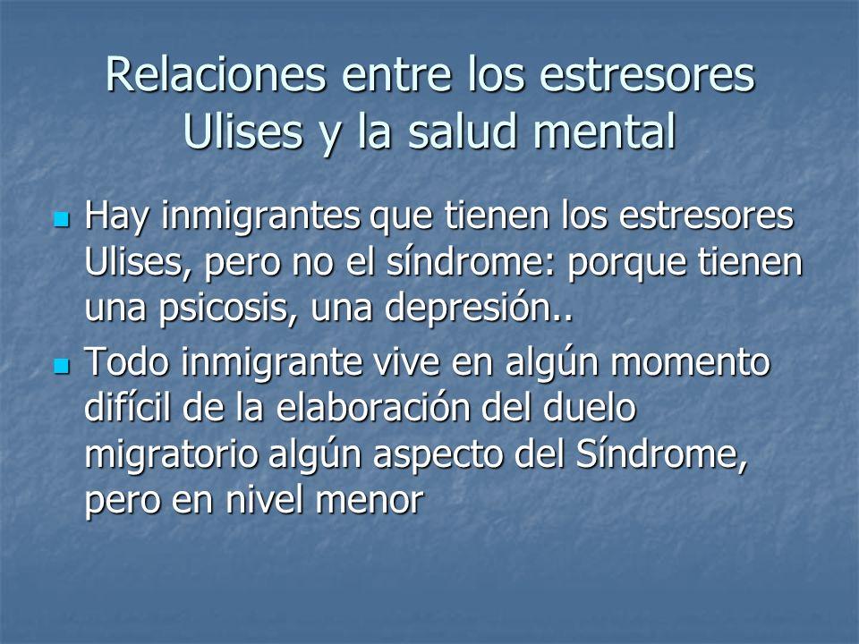 Relaciones entre los estresores Ulises y la salud mental Hay inmigrantes que tienen los estresores Ulises, pero no el síndrome: porque tienen una psic