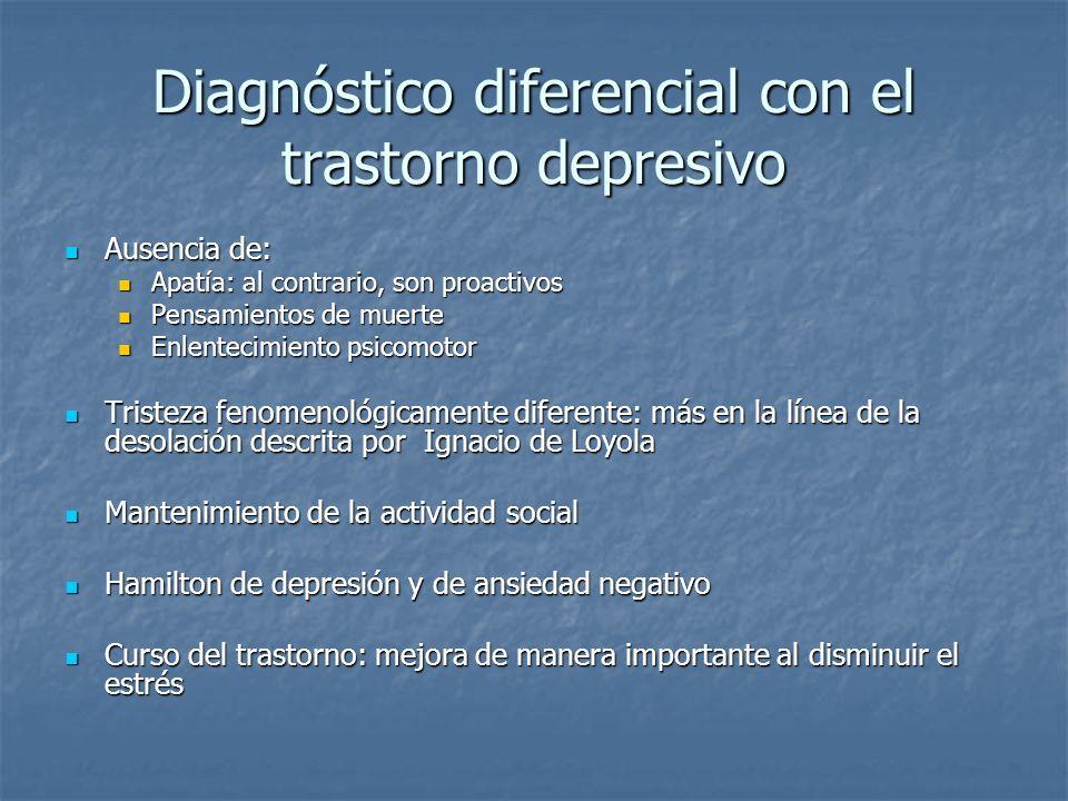 Diagnóstico diferencial con el trastorno depresivo Ausencia de: Ausencia de: Apatía: al contrario, son proactivos Apatía: al contrario, son proactivos