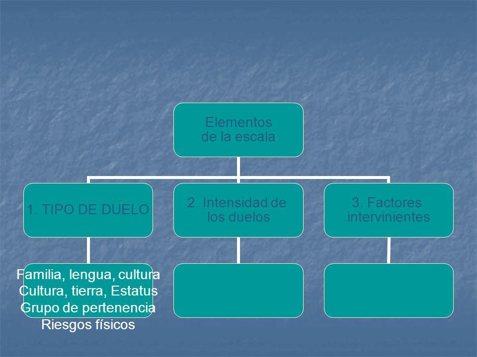 Elementos de la escala 1. TIPO DE DUELO Familia, lengua, cultura Cultura, tierra, Estatus Grupo de pertenencia Riesgos físicos 2. Intensidad de los du
