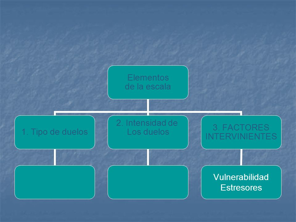 Elementos de la escala 1. Tipo de duelos 2. Intensidad de Los duelos 3. FACTORES INTERVINIENTES Vulnerabilidad Estresores